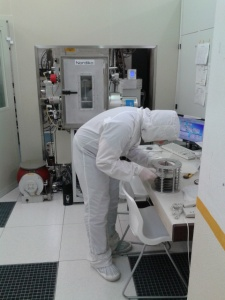 Preparing the wafer for ion-beam deposition.