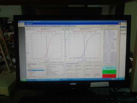 Nice transfer functions: electrical resistance vs. magnetic field as well as sample magnetization vs. magnetic field.