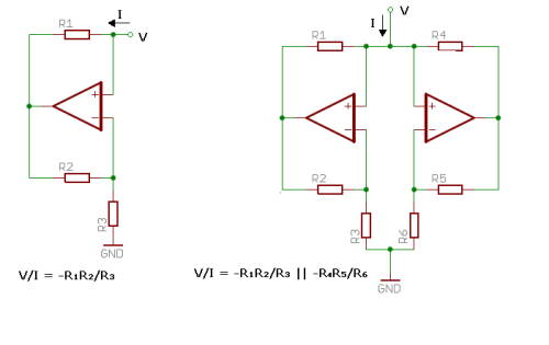 Negative resistor and two negative resistors in parallel. Chua diode is the one on the right.