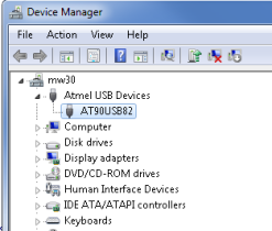 Once you burn the DFU bootloader on your AVR chip, the PC will recognize it as a Atmel USB device...