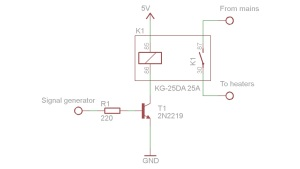 Transistor switch for the relay drive