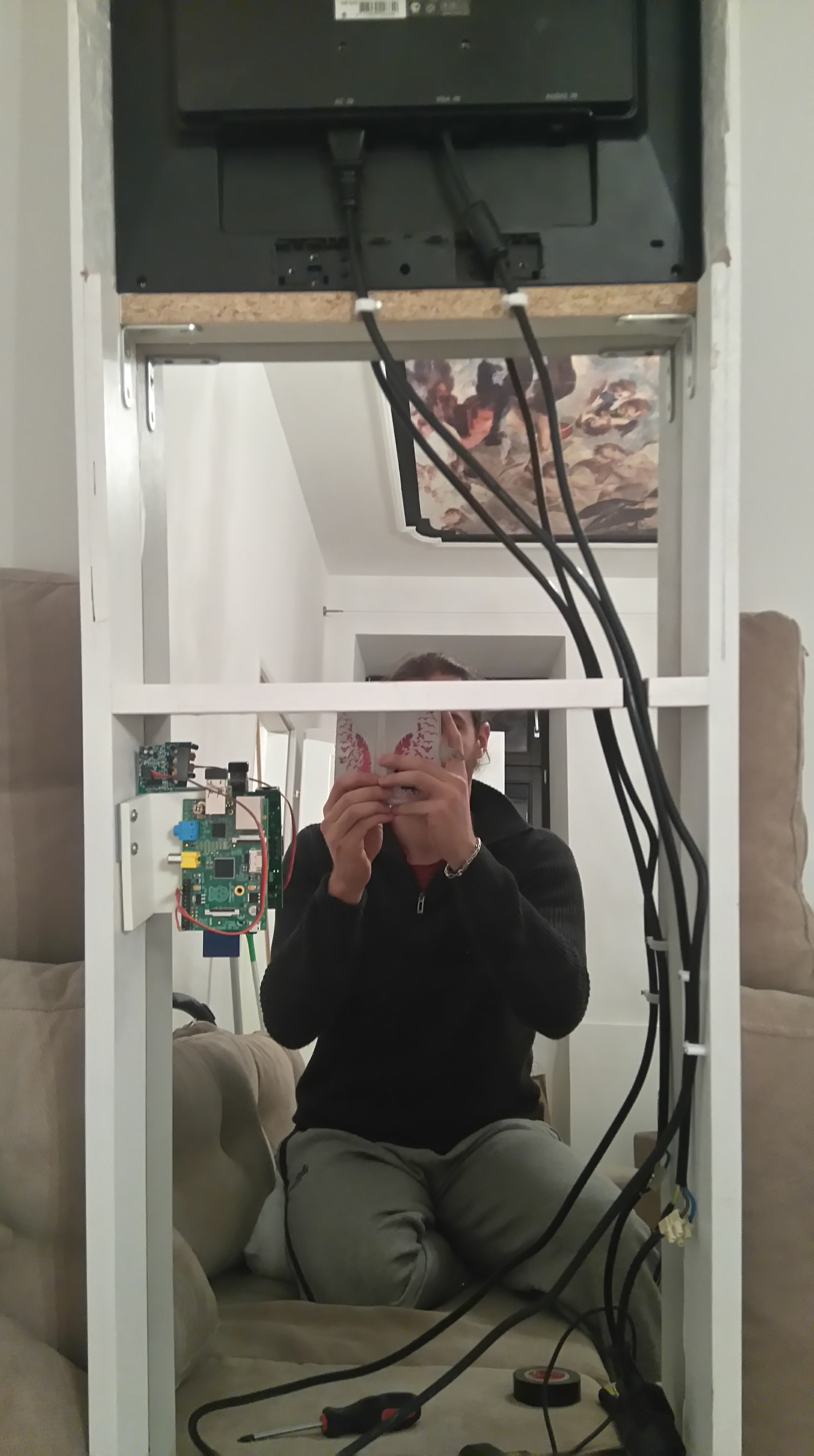 Magic Mirror With A Motion Detector Helentronica Microcontroller Based Diy Project For Power Saving Using Pir Sensor Back Side Of My The Nested Above Pi Aiming Through
